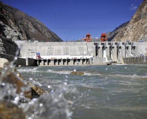 This picture taken on November 23, 2014 shows the Zangmu Hydropower Station in Gyaca county in Lhoka, or Shannan prefecture, southwest China's Tibet region. - AFP