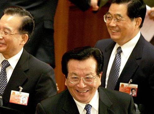 Zeng Qinghong (C) with then President Hu Jintao (R) and Premier Wen Jiabao (L) at the Great Hall of the People in 2007. Source: AFP