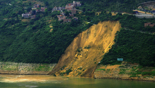 A landslide close to China's Three Gorges Dam in Chongqing.(Reuters/Stringer)