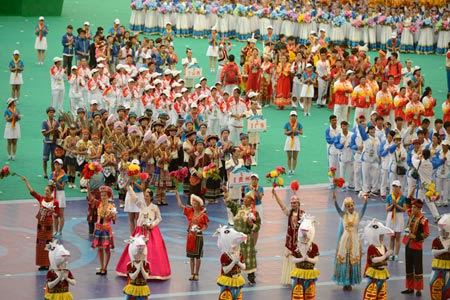 A performance at the closing ceremony of the ethnic games in Ordos, Inner Mongolia. (Photo/CNS)