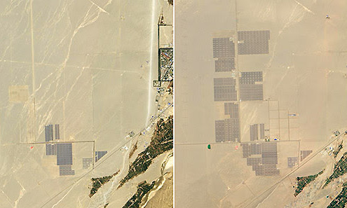 These images from NASA (via National Geographic) show the massive growth of solar in China in just three years.