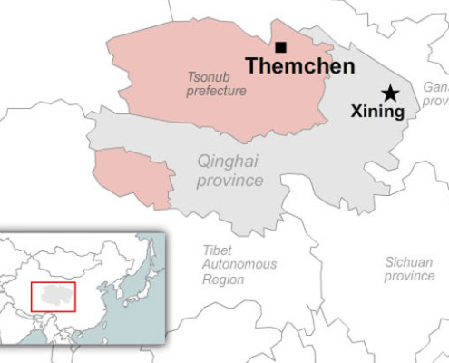 Map showing location of Themchen county in Qinghai's Tsonub prefecture. RFA