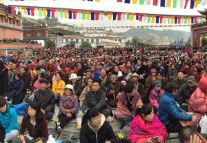A view of the crowd of Buddhist devotees at Kumbum monastery, Qinghai, Sept. 17, 2015. Photo courtesy of an RFA listener