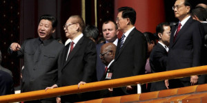 [Beijing: Chinese President Xi Jinping, left, stands with from left, former Chinese President Jian Zemin, former Chinese President Hu Jintao and China's Premier Li Keqiang during a parade commemorating the 70th anniversary of Japan's surrender during World War II held in front of Tiananmen Gate, in Beijing, Thursday, Sept. 3, 2015. AP/PTI