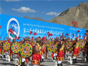 A Tibetan traditional dance during the opening ceremony of the Second China Tibet International <a href=