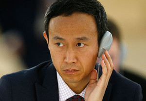 SNAPSHOT: Chinese diplomat Zhang Yaojun, shown here in March, was accused of taking an unauthorized photo of Tibetan dissident Golog Jigme at the U.N. Human Rights Council building in Geneva. Zhang said he was taking a panoramic shot of the space. REUTERS/Denis Balibouse
